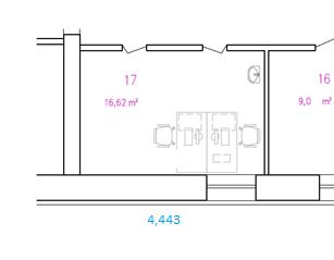 Näidis ruumiplaanile kantud andmetest: mõõdud, pindala, tähised ja sisseseade
